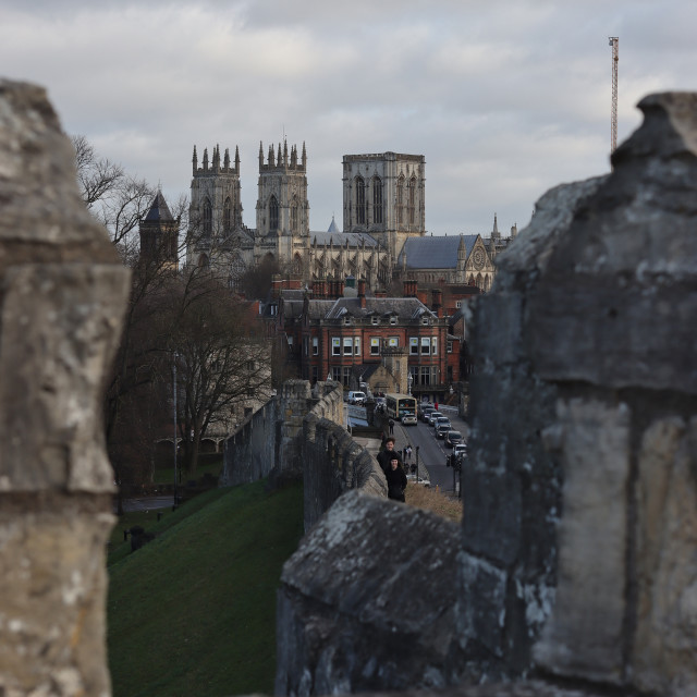"""""""A view from of York Minster."""" stock image"""