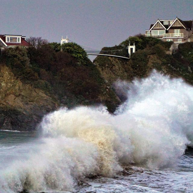 """Storm Ciara hits Towan Beach"" stock image"