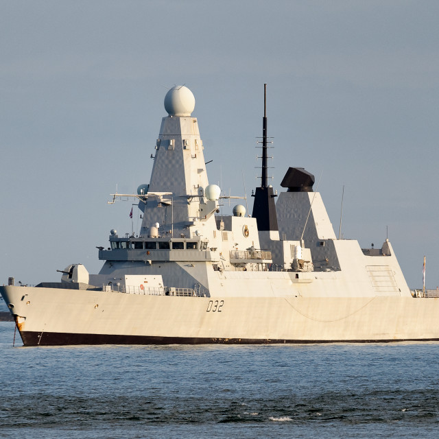 """""""HMS Daring at anchor in Plymouth Sound"""" stock image"""