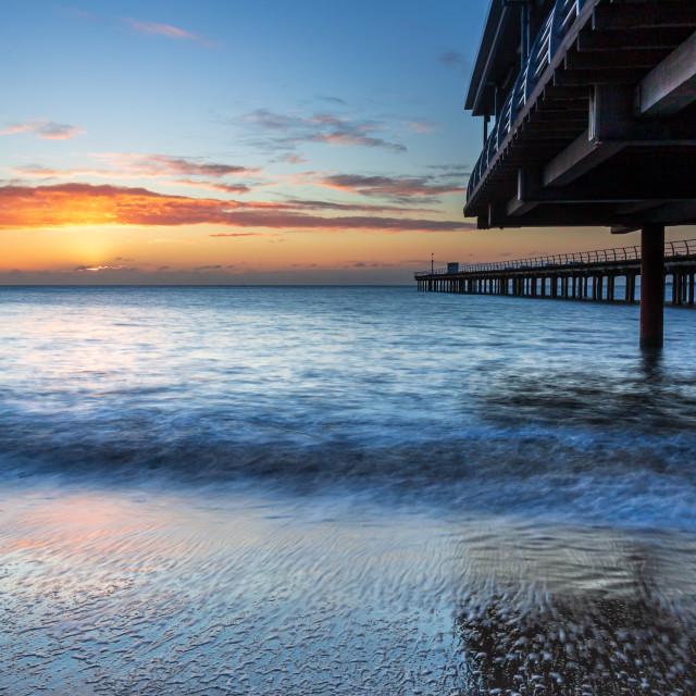 """Sunrise, Felixstowe Pier, Suffolk"" stock image"