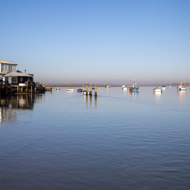 """Calm morning on the River Deben at Felixstowe, Suffolk"" stock image"