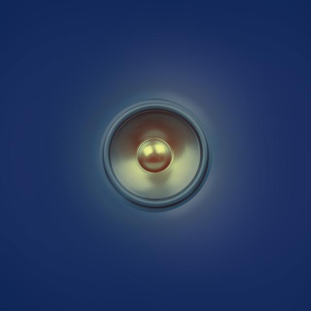 """""""Spinning music speaker on blue"""" stock image"""