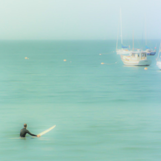 """""""Surfers waiting for a wave"""" stock image"""