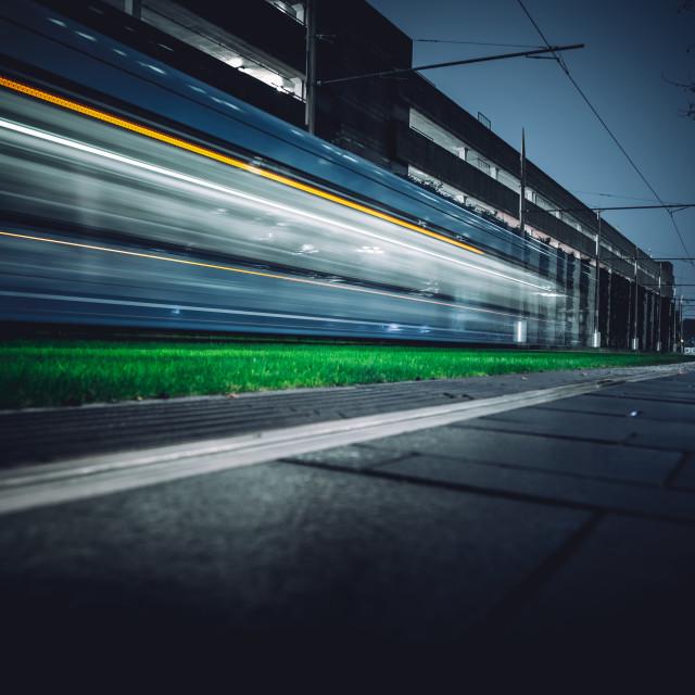 """""""Tram long exposure 2"""" stock image"""