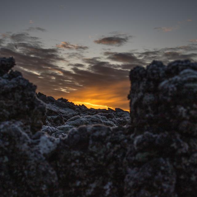 """Sun set over the lagoon"" stock image"