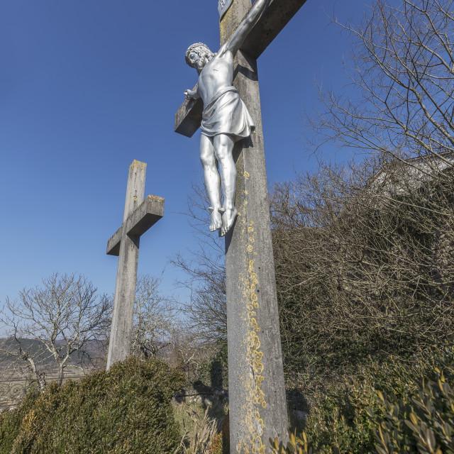 """Calvary of Jesus crucified on the cross in Beram, Istria, Croat"" stock image"