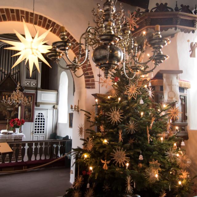 """AMRUM, GERMANY - JANUARY 01, 2020: Christmas Tree in the Church of Nebel on..."" stock image"