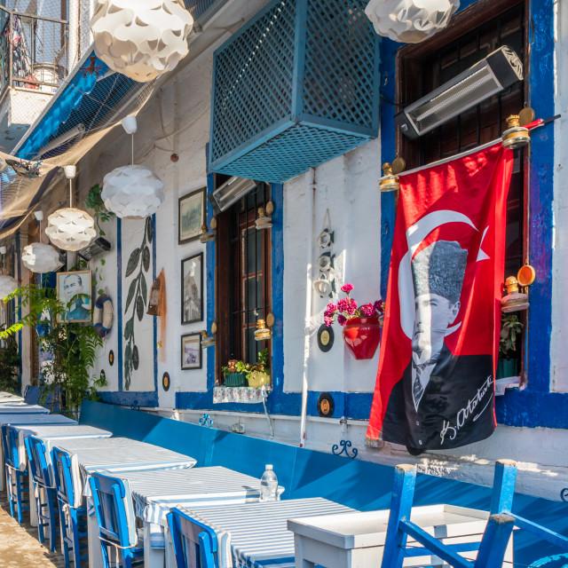 """restaurant in Alacati, Turkey"" stock image"