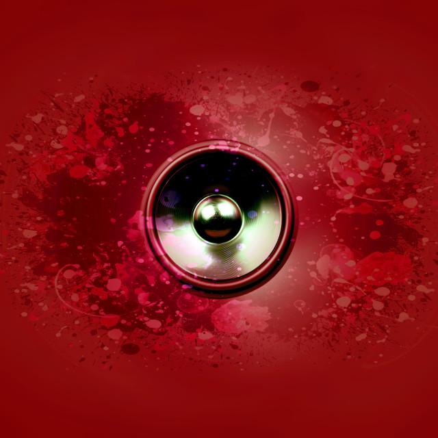 """Music speaker on a dark red background"" stock image"