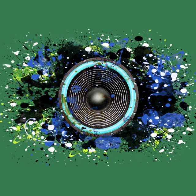 """""""Music speaker and splattered paint"""" stock image"""