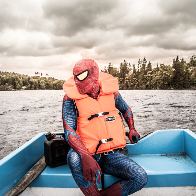 """Spiderman in a boat"" stock image"