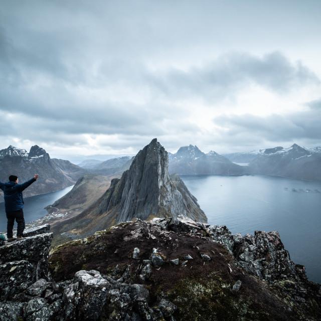 """Man on mountain"" stock image"