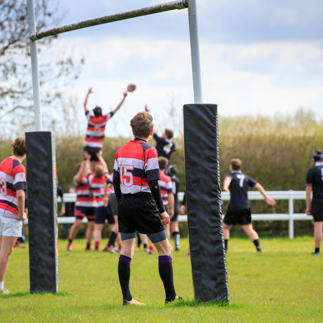"""Rugby game line-out"" stock image"