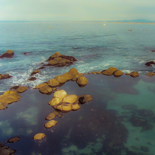 """Monterey Bay - view from the Monterey Aquarium"" stock image"