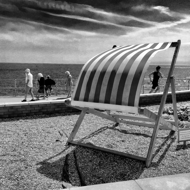 """British seaside, deckchair."" stock image"