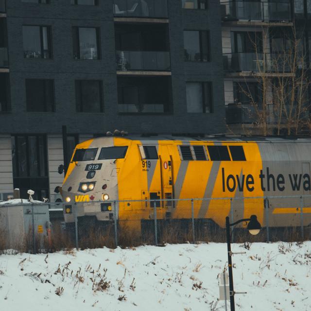 """A Via Rail Locomotive with the slogan ""love the way"""" stock image"