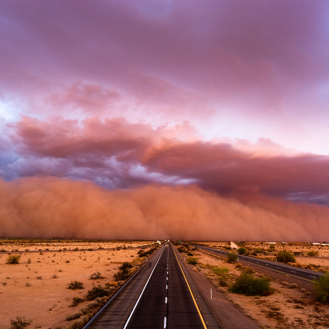 """Dust storm in the Arizona desert"" stock image"