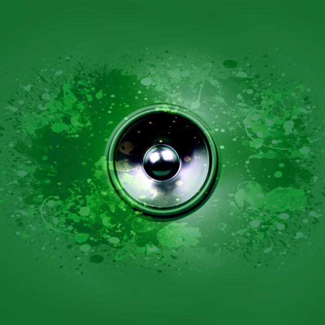 """""""Music speaker on a green background"""" stock image"""