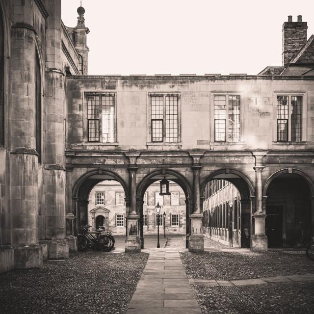 """""""Peterhouse College Cambridge University in monochrome"""" stock image"""