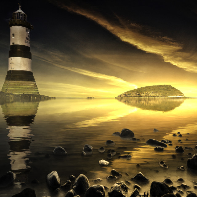 """""""Penmon Lighthouse, Anglesey, North wales, United Kingdom"""" stock image"""