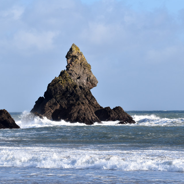"""""""Church Rock in Pembrokeshire on a windy day."""" stock image"""