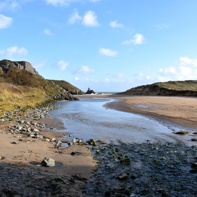 """""""A view of Broadhaven South with Church Rock in the background."""" stock image"""