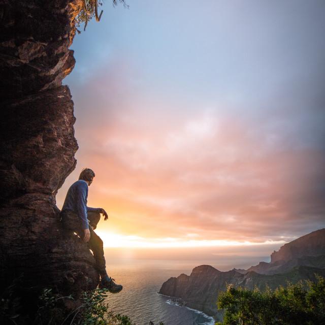 """Sunrise in Hermigua"" stock image"