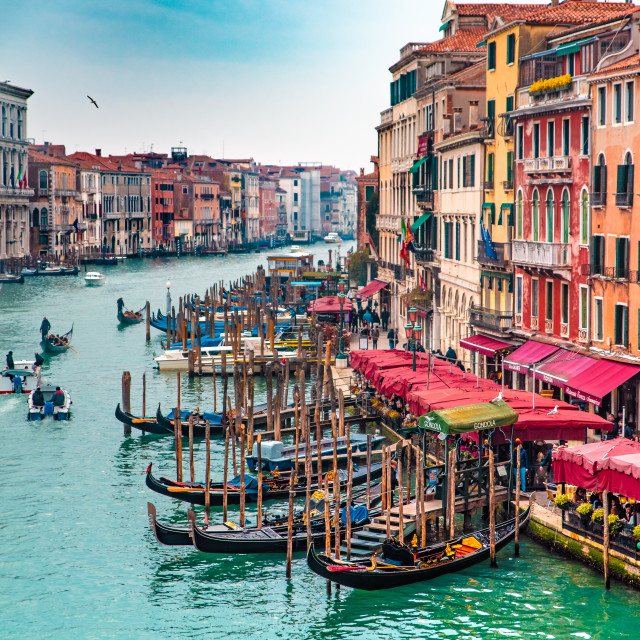 """""""Venice grand canal with traditional Venice gondolas"""" stock image"""