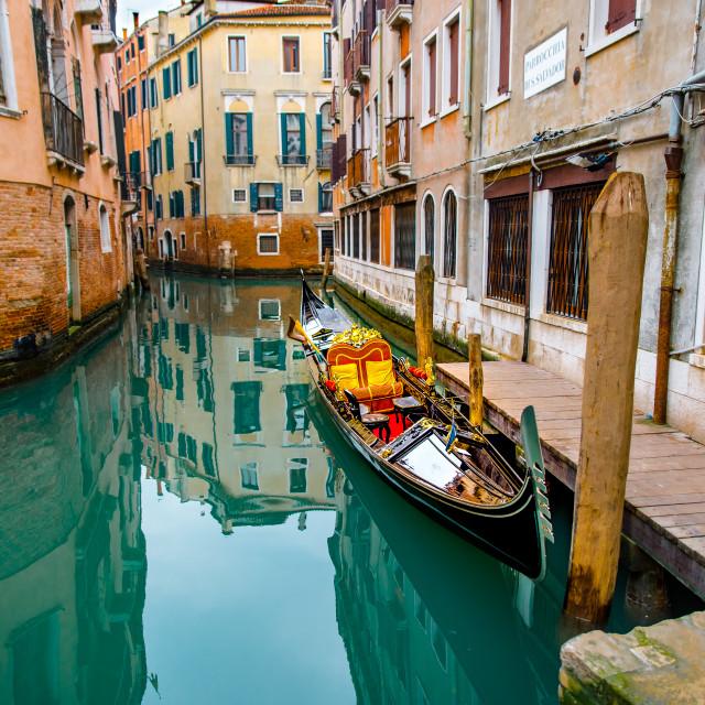 """Traditional Venice gondola"" stock image"