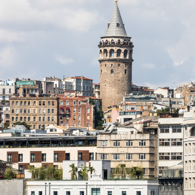 """""""The Galata Tower from the Golden Horn,"""" stock image"""