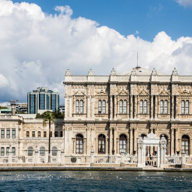 """""""View of Dolmabahçe Palace"""" stock image"""