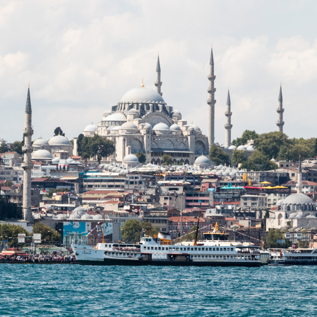 """""""he Suleymaniye mosque with the New Mosque"""" stock image"""