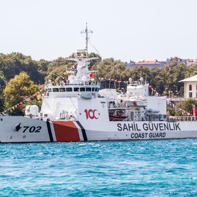 """Coastguard vessel moored on the Boshorous."" stock image"