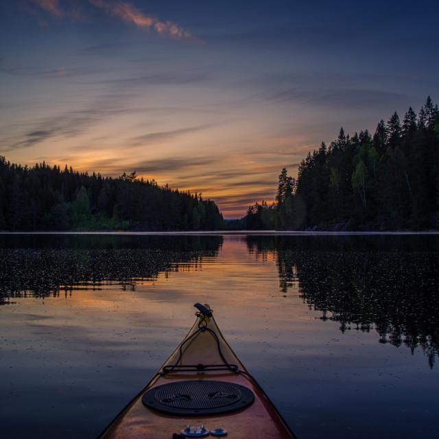 """Kayaking into the sunset"" stock image"