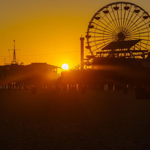 """Sunset at Santa Monica Pier"" stock image"
