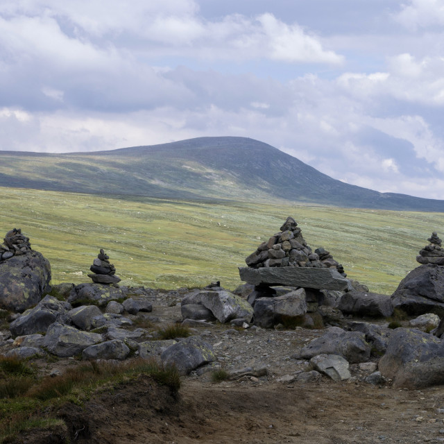 """""""Cairns in the Espedalen valley"""" stock image"""