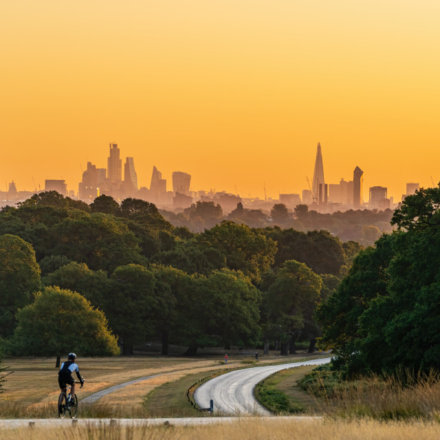 """A man cycles along a road through Richmond Park towards the skyline of the..."" stock image"
