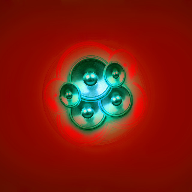 """""""Music speakers on a dark green background"""" stock image"""