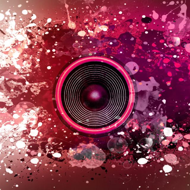 """Music speaker and paint splatters"" stock image"