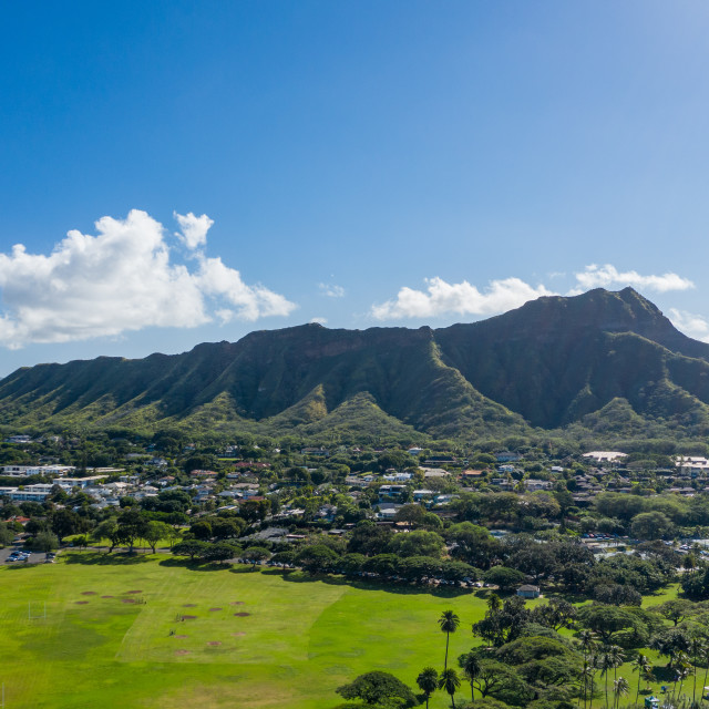 """Aerial view of Kapiolani regional park looking towards Diamond Head on Oahu"" stock image"