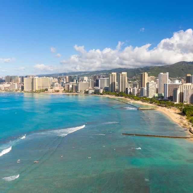 """""""Aerial view of Waikiki looking towards Honolulu on Oahu"""" stock image"""