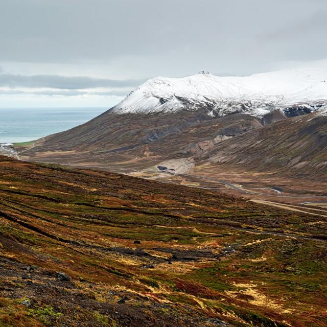 """Mountains and view in Borgarfjordur Eystri, Iceland"" stock image"