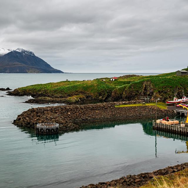 """Little harbour in Borgarfjordur Eystri, Iceland"" stock image"