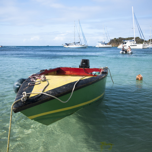 """Wooden boat in the Caribbean"" stock image"