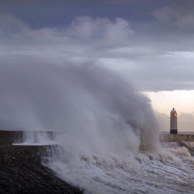 """""""Storm Ciara hits South Wales"""" stock image"""