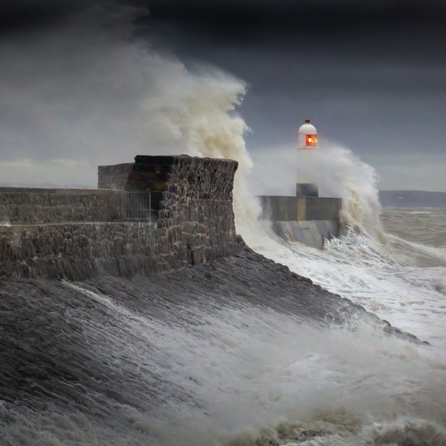 """""""Storm Ciara reaches the Welsh coast"""" stock image"""