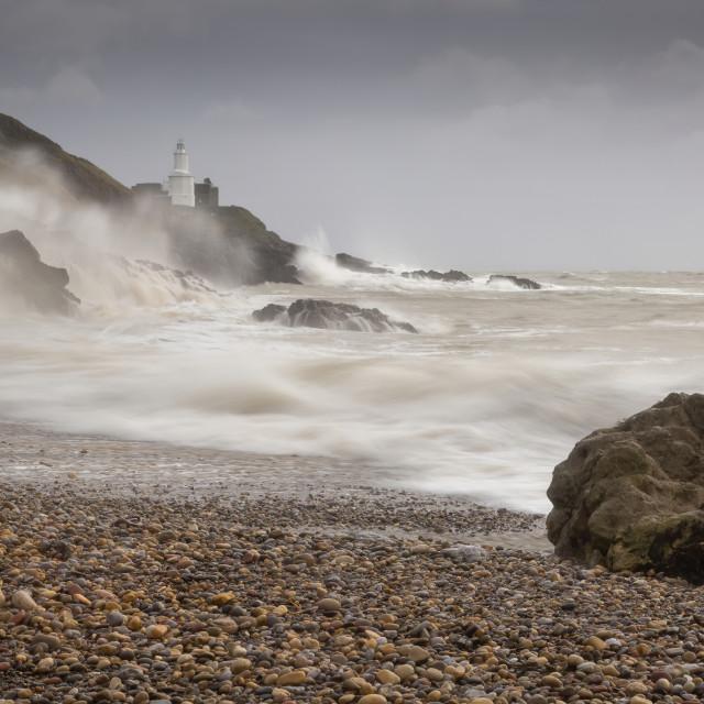 """Storm Ciara on Bracelet bay"" stock image"