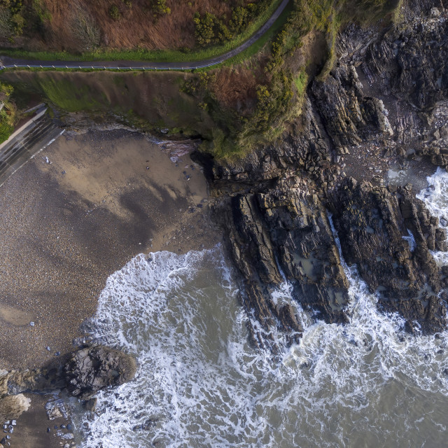 """""""Aerial view of Rotherslade Bay"""" stock image"""