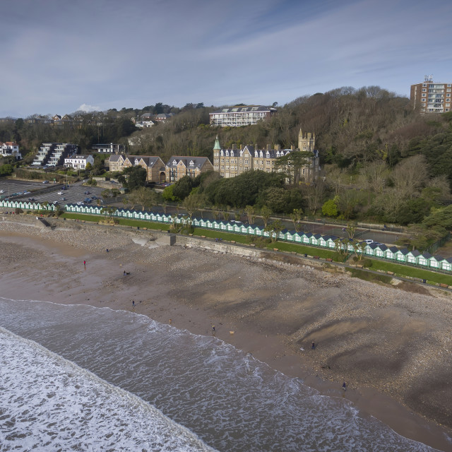 """""""The beach chalets of Langland Bay"""" stock image"""