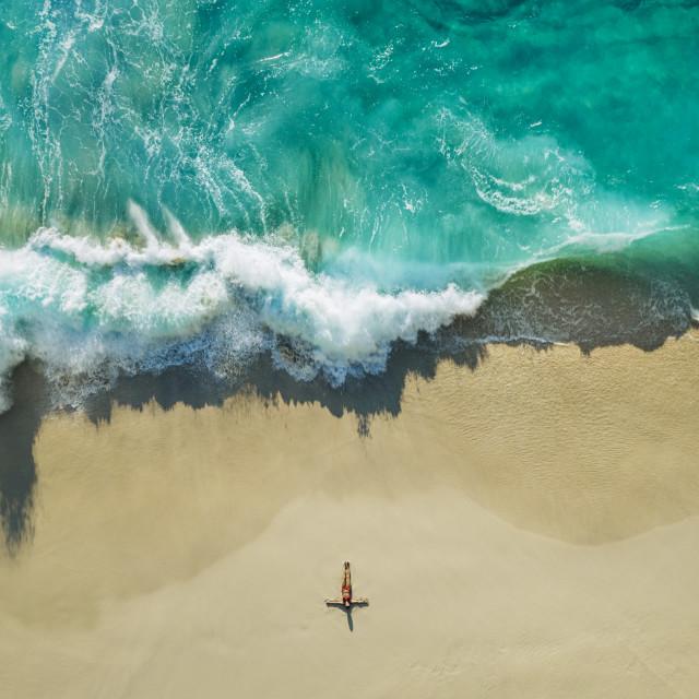"""KELINGKING BEACH CRASHING WAVE"" stock image"
